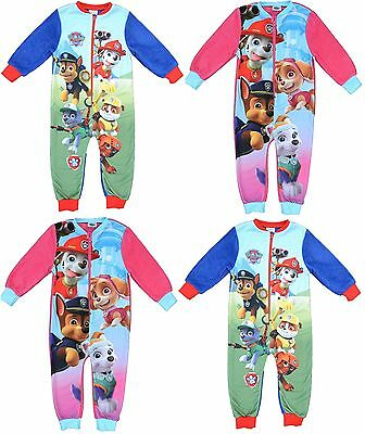 Girl Kids Paw Patrol Chase Marshall Skye All In One Fleece Sleepwear Pyjamas New