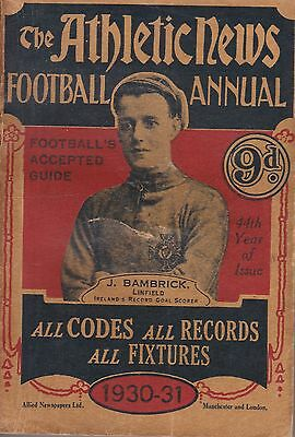 Athletic News Football Annual ~ 1930~31 ~ Very Good Condition ~ Linfield