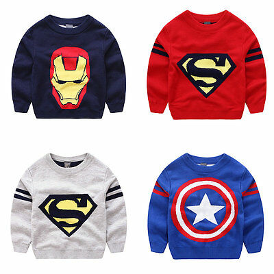 Baby Toddler Boys Kids Pullover Long Sleeve Clothes Tops Sweater Age 3-8years