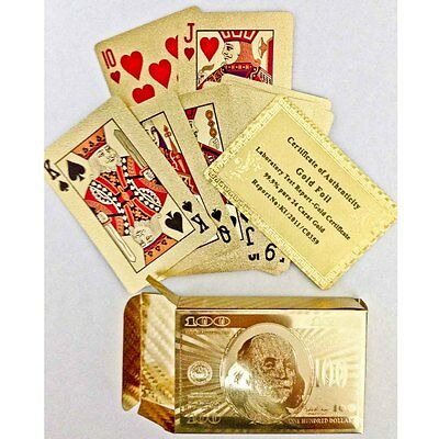 newc 24K Carat Gold Golden Plated Poker Playing Cards Set,Brand New,Free