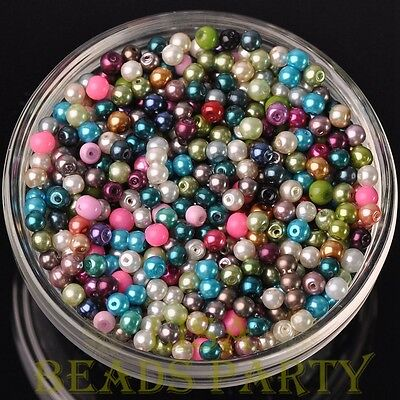 New 100pcs 4mm Round Glass Pearl Loose Spacer Beads Jewelry Making Mixed Color