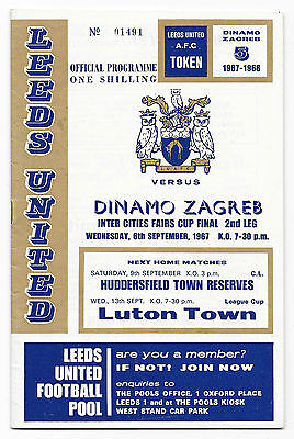 1967 - Leeds United v Dinamo Zagreb, Inter Cities Fairs Cup Final Programme.