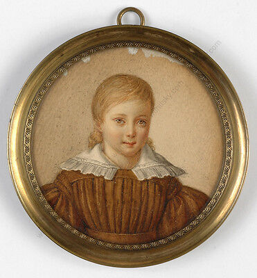 """Portrait of a little girl"" French miniature from a famous collection, 1820/30s"