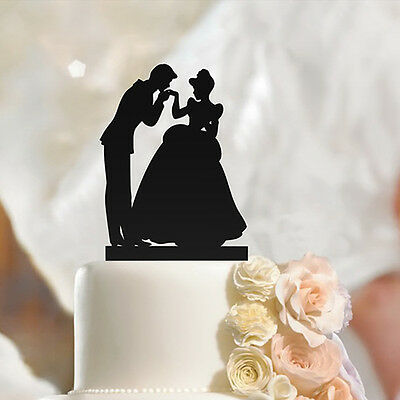 Fiance & Fiancee in Hand Kiss Wedding Engagement Cake Toppers
