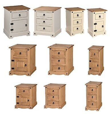 Corona Bedside Cabinet Chests Solid Pine Mexican Doors Drawers Mercers Furniture
