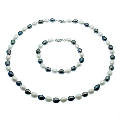 Pearl Jewellery Set Necklace & Bracelet Set  Oval Freshwater Pearls  White Gold