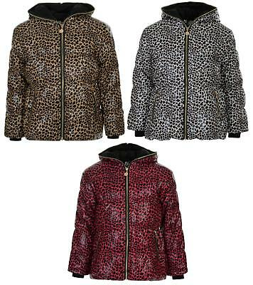 Girls Coat Hooded Leopard Print Hooded Puffa Jacket 4-13 Years Bnwt
