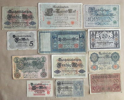 IMPERIAL GERMAN ARMY: SET OF REICHSMARK BANK-NOTES 1914 set #1