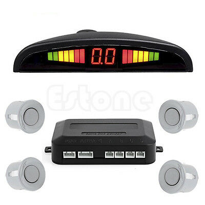 LED Display Car 4 Parking Sensor Reverse Audio Backup Radar Alarm System Silver