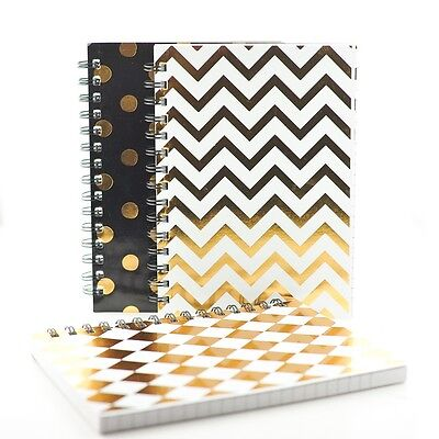 A5 Metallic Notepad Spiral Pad - Book Lined 240 Page Paper Notebook Tabbed