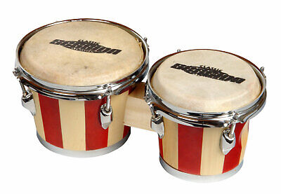 Retro Bongos 18 And 22 Cm Drums Hand Percussion Instrument Wood Nature Skins