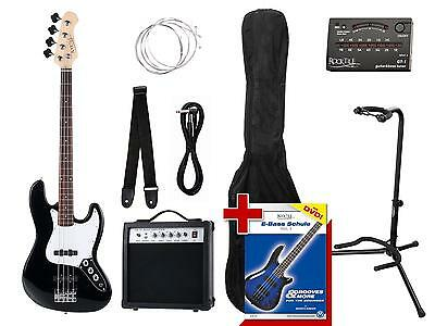 Electric Bass Guitar Set Amplifier Amp Bag Tuner Strap Lead Stand Spare Strings