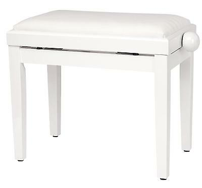 Piano Bench Digital Piano Seat Keyboard Stool Adjustable Height White Highgloss