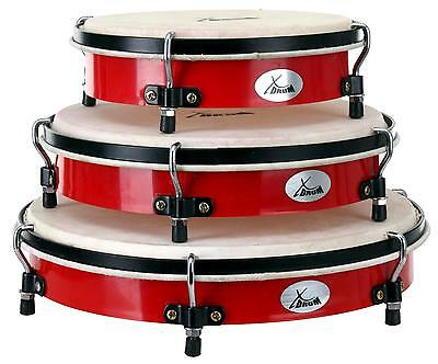 """3x PERCUSSION HAND DRUM BODHRAN SET 8"""" 10"""" 12"""" TUNEABLE SKIN TIPPER WINERED"""