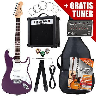 Electric Guitar Pack Amplifier Tuner Strings Gigbag Cable Strap Plectrums Purple
