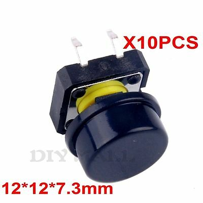 10pcs B3F Key Tactile Buttons Tact Switch Button Round Cap 12 * 12 * 7.3mm Black