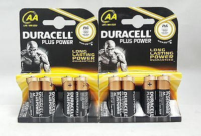 Duracell MN1500 Plus Power AA Size 8 Batteries - 2 x 4 Pack - LR6