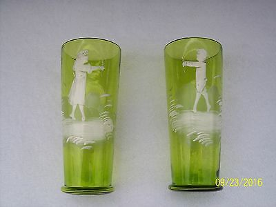 Pair of Antique Hand Painted Mary Gregory Victorian Scene Green Art  Glasses