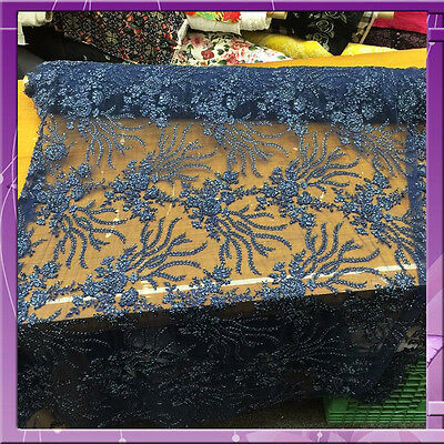 """Lace Embroidery Flower With Rhinestones 54"""" Fabric Sold By The Yard Navy Blue"""