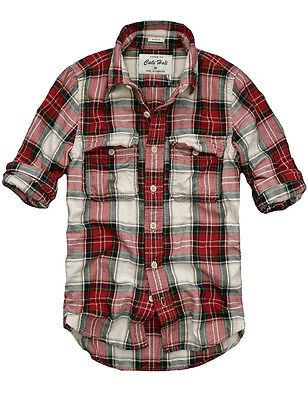 Mens CALI HOLI Muscle Fit Flannel Check Long Sleeve Shirt Red 98131