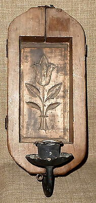 Lovely PRIM PENNSYLVANIA DUTCH ANTIQUE BUTTER MOLD MADE INTO ELECTRIC SCONCE