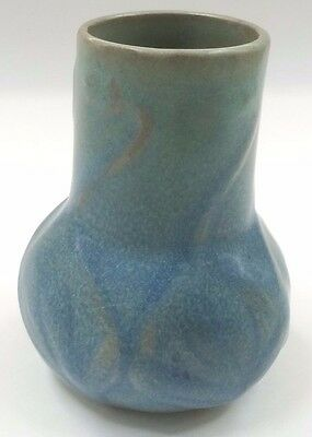 Rare Van Briggle Early 1918 Ming Blue Vase Lotus Arts Crafts pottery vtg dated