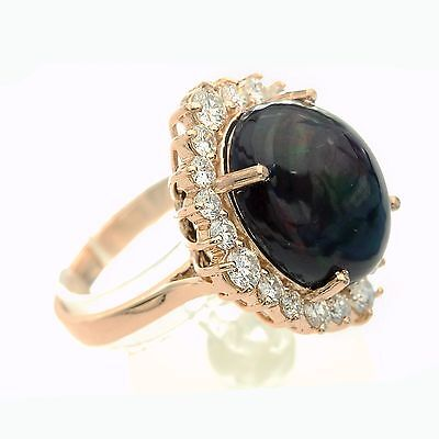 Natural Round Brilliant Diamond & Opal Anniversary Ladies Ring in 14k Rose gold