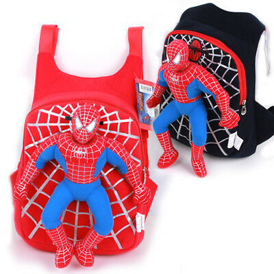 Nice Children Kids Cartoon Spiderman Plush Doll Kindergarten School Bag Backpack