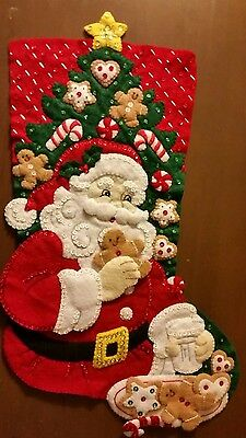 "Finished Bucilla "" Snack Time18"" Christmas Stocking - Handstitched"