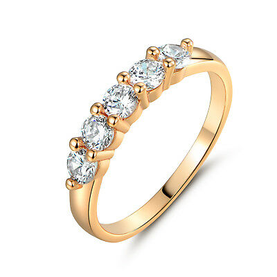 HUCHE Vintage 18k Gold Filled Laurel Clear Sapphire Rhinestone Women Lady Rings