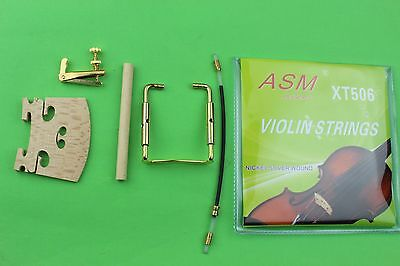 10sets 4/4 violin parts string bridges tuners tail gut chinrest screw sound post