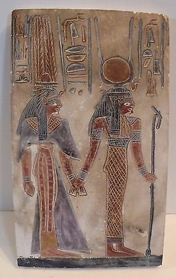 sdfX ANCIENT EGYPT REPRODUCTION CARVED PAINTED RELIEF OF STONE LIMESTONE FRIEZE