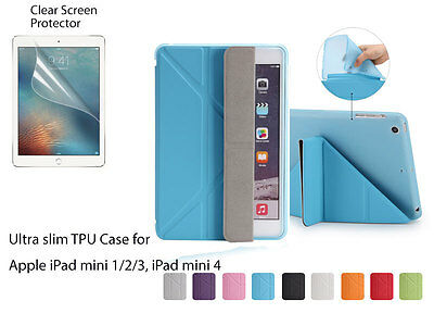 Fold Magnetic Ultra Slim PU TPU Smart Cover Soft Case for iPad mini 1 2 3 4