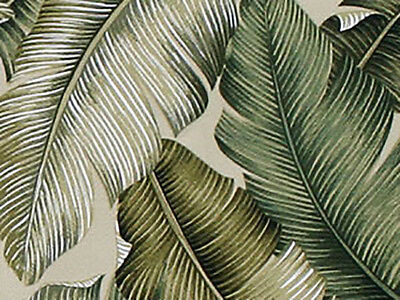 TROPICAL LEAVES -  Barkcloth Upholstery Home Dec Fabric (BTY)