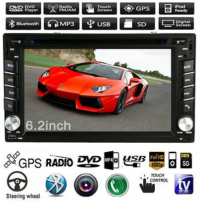 "2 Din 6.2"" Navi GPS Car Radio Stereo DVD MP5 Player In Dash Bluetooth MP3 iPod"