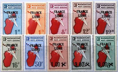 MADAGASCAR MALAGASY 1943 335-44 C27-36 FRANCE LIBRE ovp Airpalens Flugzeuge MLH