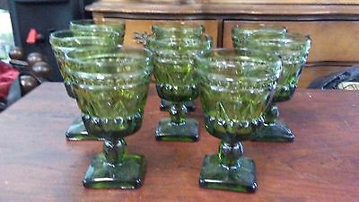 """8 Vintage Colony / Indiana Glass Park Lane Green Wine Glasses Goblets 4-1/2"""" T"""