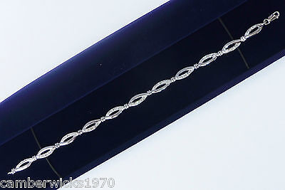 9ct White Gold 0.05ct Diamond Fancy Link Tennis Bracelet, 7""