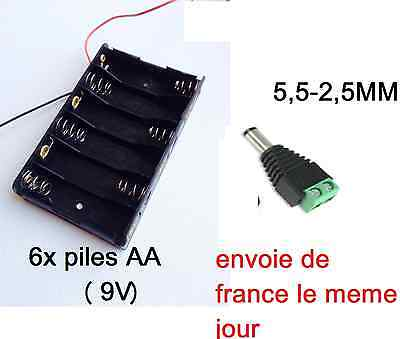 boitier support 6 piles AA =9V cable a souder compris + fiche 5,5-2,5MM standard