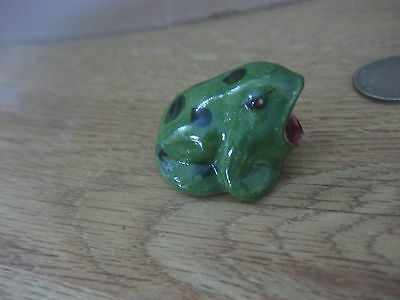 """VINTAGE Miniature FROG TOAD Hannah Pearson 1955 Open Mouth 1"""" Green Black spots"""