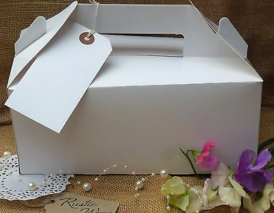 Large Blank WHITE Gift Box Xmas Wedding Favor Birthday Party Carry Boxes & Tags