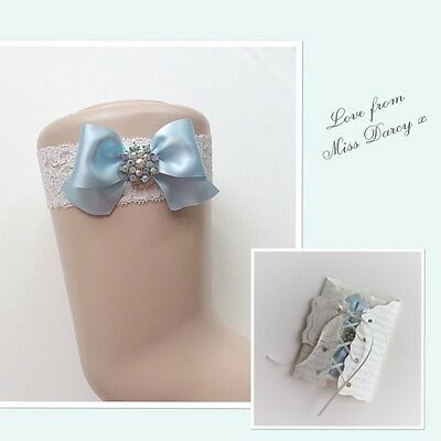 Ivory Lace Blue Bow Miss Darcy Personalised Wedding Brides Bridal Hen Garter