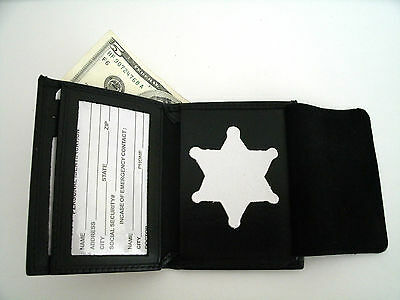 SHERIFF'S BADGE WALLET RECESSED Cut Out B-956 Blackinton STAR CUT OUT LEATHER