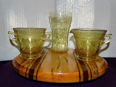 Amber Depression Glass Patrician/Spoke Pattern Creamer Sugar Tumbler by Federal