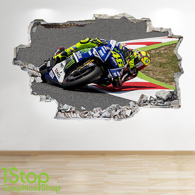 Valentino Rossi Wall Sticker 3D Look - Boys Kids Bedroom Motorbike Decal Z176