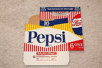 Vintage Original Pepsi 16 Oz 6 Pack Holder Cardboard Carton NOS Red White Blue