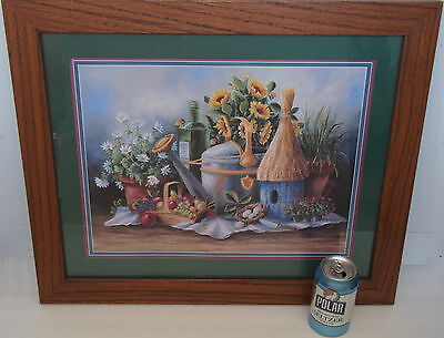Home Interiors Garden Still Life Bird House Picture Print Heavy Oak Frame 23x19""