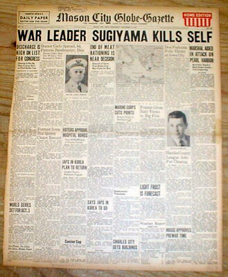 2 1945 hdlne newspapers 2 JAPANESE War Leaders COMMIT SUICIDE after WW II ends