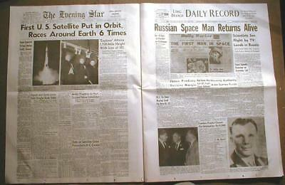 31 newspapers BIG headlines SPACE EXPLORATION 1913-1986