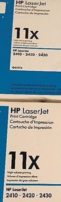 2 UNUSED New Genuine HP 11X Laser Cartridges Out of Box and Bag Q6511X